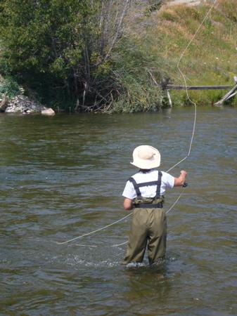 Alex fishes Fish Creek